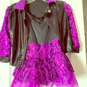 Girls Dance Costume w Biker Jacket Size MC 10/12
